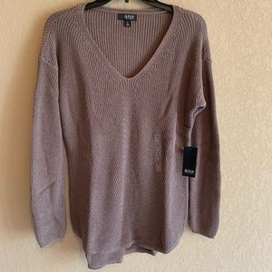 NWT ana V-Neck Long Sleeve Lurex Pullover Sweater